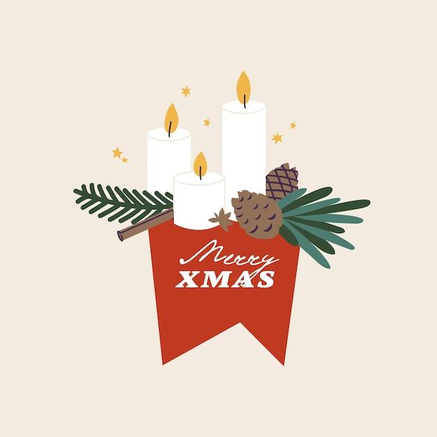 Vector illustration composições de tipografia de natal com velas de galho de árvore do abeto e cones de abeto. saudações sazonais de inverno com atributos tradicionais de natal.