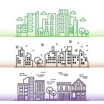 Vector illustration design de cidade em estilo de linha