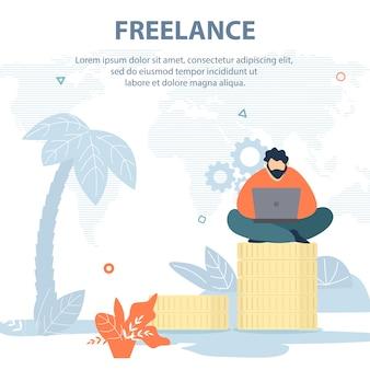 Vector illustration inscrição freelance cartoon