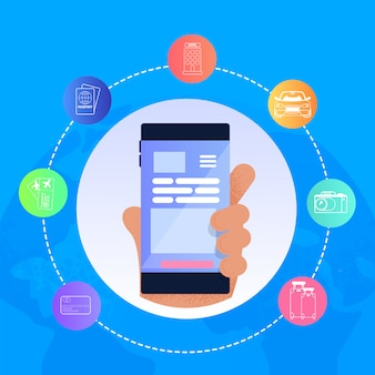 Vector illustration man mão segurando o telefone móvel