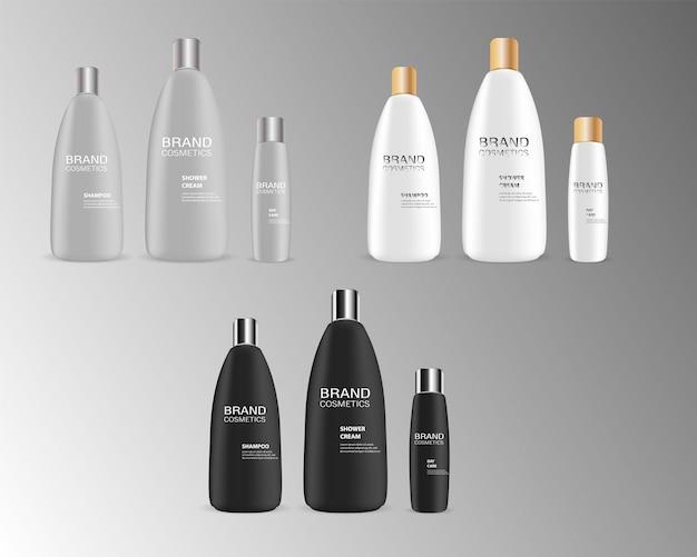 Vector illustration maquete de garrafa de cosméticos de marca