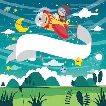 Vector illustration of kid avião voando com banner