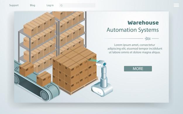 Vector illustration sistema de automação de armazém.