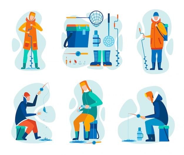 Vector illustration sport conjunto de pesca de inverno.