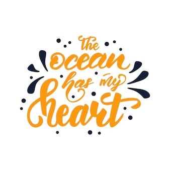 Vector illustration with lettering o oceano tem meu coração.