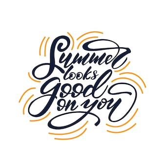 Vector illustration with lettering verão parece ser bom em você.
