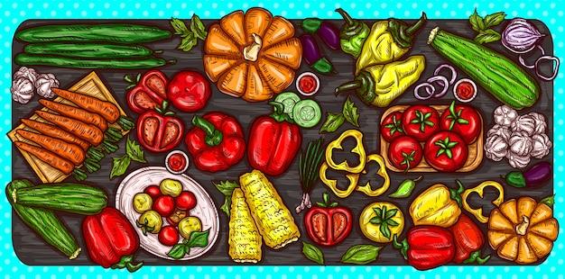 Vector ilustração dos desenhos animados de vários vegetais inteiros e cortados em um fundo de madeira.