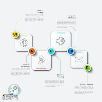 Vector ilustração infográficos quatro arredondado retângulo.