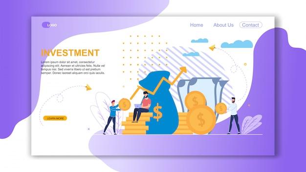 Vector ilustração inscrição investimento plana.