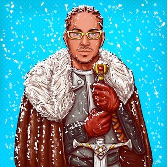 Vector ilustração pop art de um cavaleiro medieval em armadura de aço com uma espada de ferro