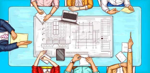 Vector ilustração pop art de um homem e uma mulher sentada em uma mesa de negociação vista superior