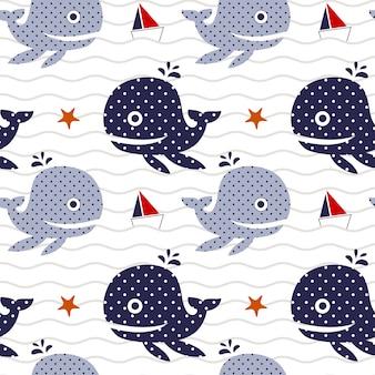 Vector ilustração sem costura padrão com baleia e navio