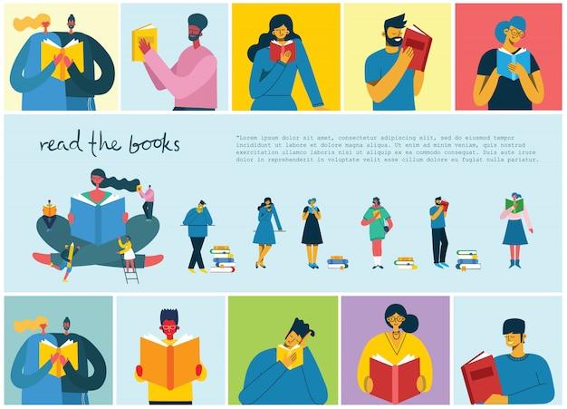 Vector ilustrações do conceito do dia mundial do livro, lendo os livros e festival do livro no estilo liso.