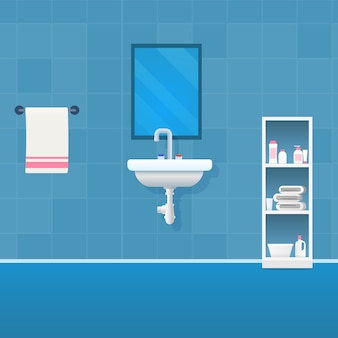 Vector image cartoon view banheiro em tons de azul