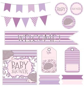 Vector infantil definido para o nascimento de uma criança