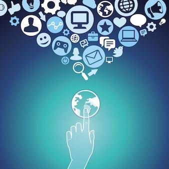 Vector internet marketing conceito com elementos
