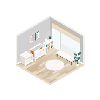 Vector isométrica interior do quarto do bebê