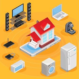 Vector isométrico ilustração abstrata casa inteligente, controlando através de equipamentos de trabalho em casa na internet.