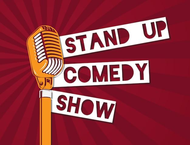 Vector levante-se a ilustração do microfone da comédia no fundo do sunburst. levante-se banner com microfone