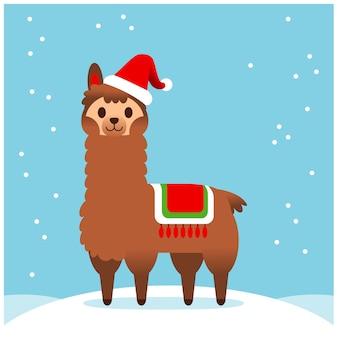 Vector lhama bonito, personagem de alpaca, cartão de feliz natal