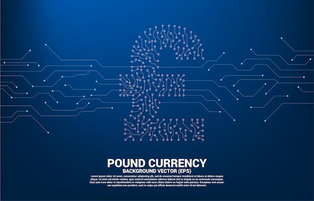 Vector libra esterlina moeda dinheiro ícone de ponto de estilo de placa de circuito conectar linha