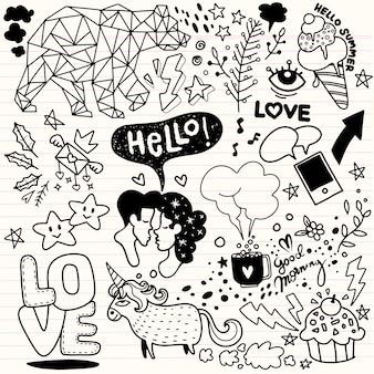 Vector line art doodle conjunto de desenhos animados de objetos e símbolos