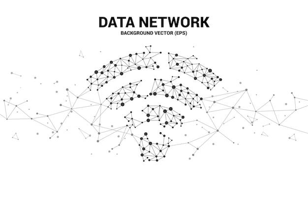 Vector linha de polígono conectar sinalização de ícone de dados móveis