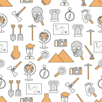 Vector linha fina arte arqueologia sem costura padrão