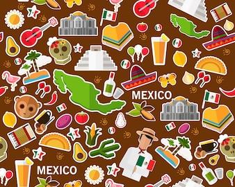 Vector liso sem costura textura padrão México