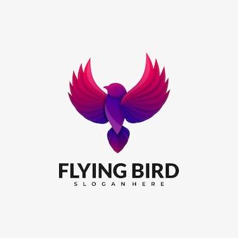 Vector logo illustration estilo colorido gradiente de pássaro voador.