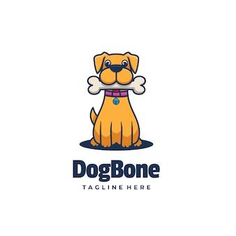 Vector logo illustration estilo simples mascote de osso de cachorro.
