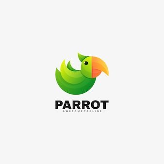Vector logo illustration parrot gradient colorful style.