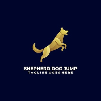 Vector logo ilustração dog jump gradient colorful style.