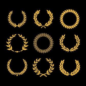 Vector louro grinalda floral de trigo grinalda circular moldura dourada coleção de vetor isolada