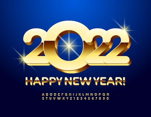 Vector luxo cartão de felicitações de feliz ano novo 2022 ouro fonte 3d luxo letras e números