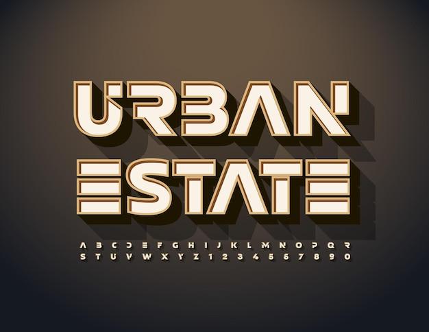 Vector luxo emblema urban estate estilo moderno fonte conjunto de letras e números do alfabeto criativo