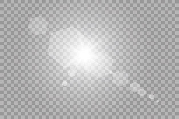 Vector luz solar transparente lente especial flare efeito de luz. sol flash com raios e holofotes