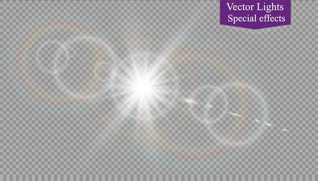Vector luz solar transparente lente especial flare efeito de luz.