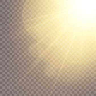 Vector luz solar transparente lente especial flash efeito de luz.