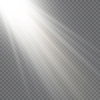 Vector luz solar transparente lente especial flash efeito de luz