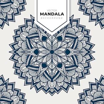 Vector mandala azul isolado no vetor branco mão desenhada elemento decorativo circular.