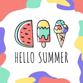 Vector mão desenhada cartão de verão com letras