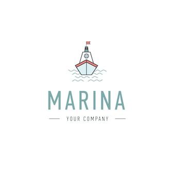 Vector marina, modelo de logotipo do volante, ícone abstrato do negócio. navar e ondas. barco a vapor. barco a vela. pescaria.