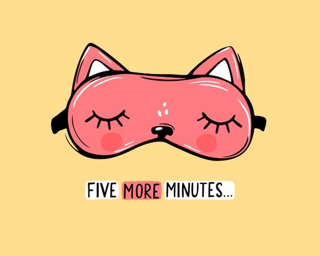 Vector máscara de sono vermelha em forma de gato e cite mais cinco minutos. cartão fofo vendada