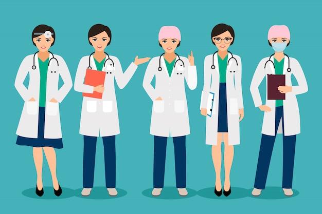 Vector médico feminino ou sorridente mulher farmacêutico poses