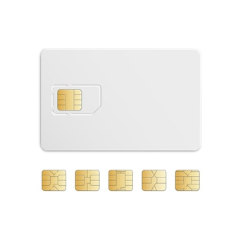 Vector mobile phone sim card chip set isolado no branco