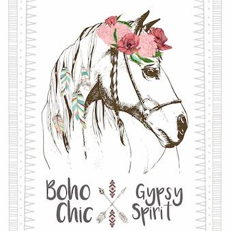Vector moda boho pintainho cavalo