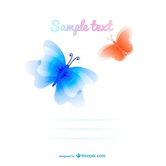 Vector modelo com borboletas coloridas