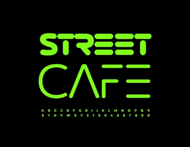 Vector moderno logotipo street cafe com fonte verde brilhante conjunto criativo de letras e números do alfabeto