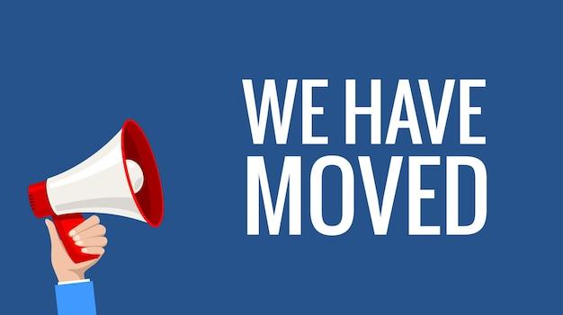 Vector movendo a bandeira de publicidade do anúncio do texto do negócio da palavra que nos movemos.
